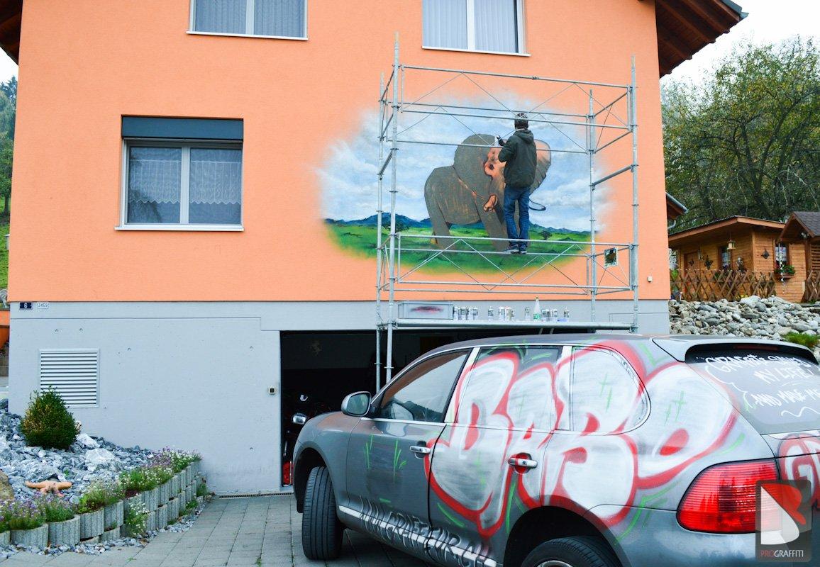 Fassade Graffiti sprayer Baro Deko Schweiz | Graffiti Künstler Pro.