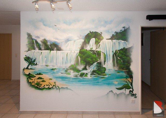 Wasserfall-Kunst-Graffiti-Schweiz
